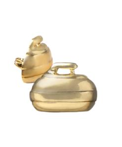 Curling Rock Brooch - Gold