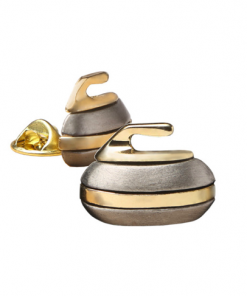 Curling Rock Brooch - Pewter with Gold Accents